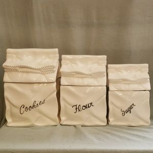 5pc ceramic paper bag canister set